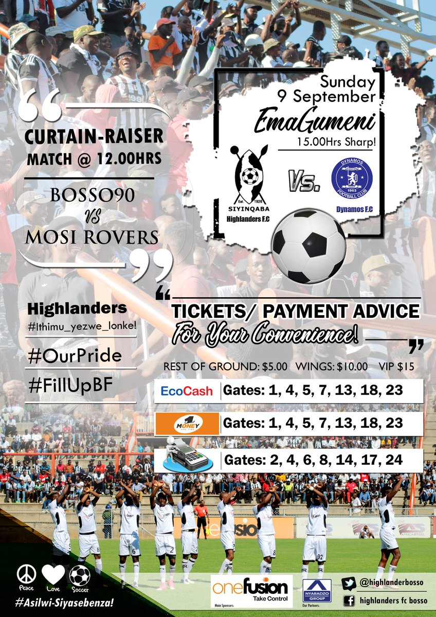 Do you have cash problems? Don't worry, we accept all modes of payment.  Here are the full details of how you pay.  If we can make football a family sport; we can make such days a 'public holiday'.  Together we can make it!  Let us all stand against Violence and Pitch invasion.