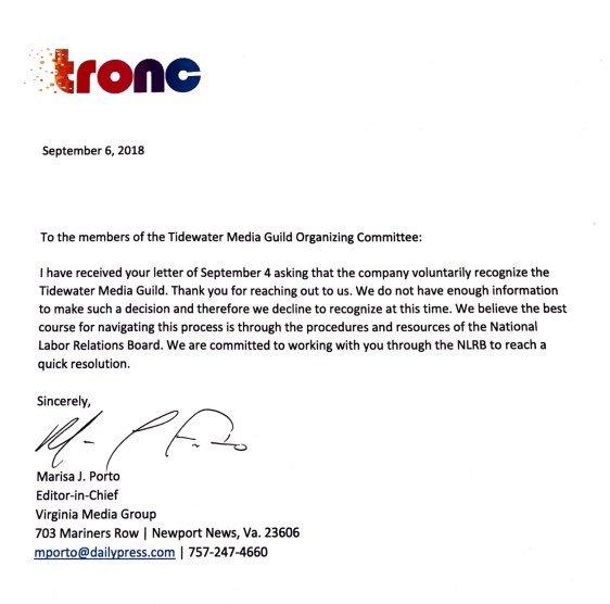 Member News (9/6/18): Talking union at Tronc's Va  papers, Roanoke