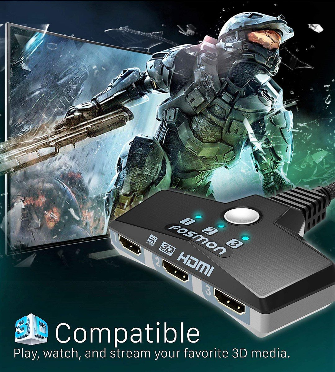 Easy access to all your gaming consoles with the Fosmon HDMI 4K Switch. Order yours today: https://t.co/mpZaZ8Lksj  #gaming #xbox #ps4 #halo #4k #hdmi #hdmiswitch #gamer #fosmon https://t.co/ppqoEXfyWA