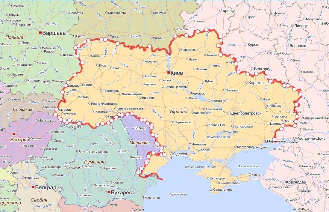 граница украины и россии на карте подробно если даче