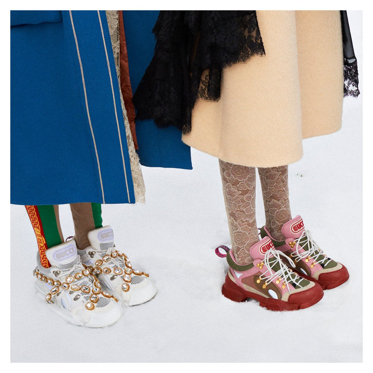 9f7d960b5 ... thick rubber sole and details inspired by hiking shoes, the  #GucciFlashtrek sneakers are decorated with removable elastic straps  adorned by crystals.