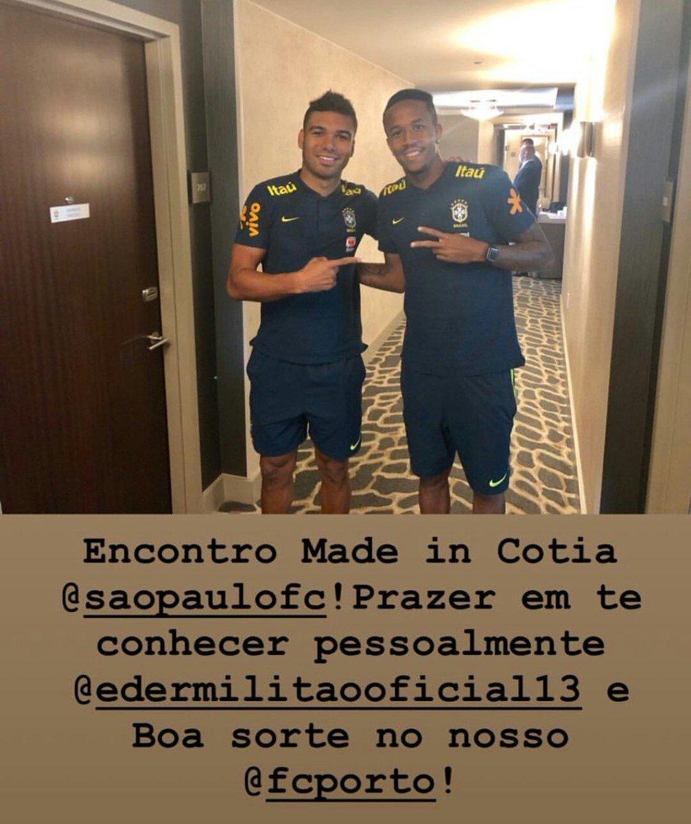 Casemiro no seu Instagram, após conhecer Éder Militão: 'Boa sorte no NOSSO Porto.' #SomosPorto