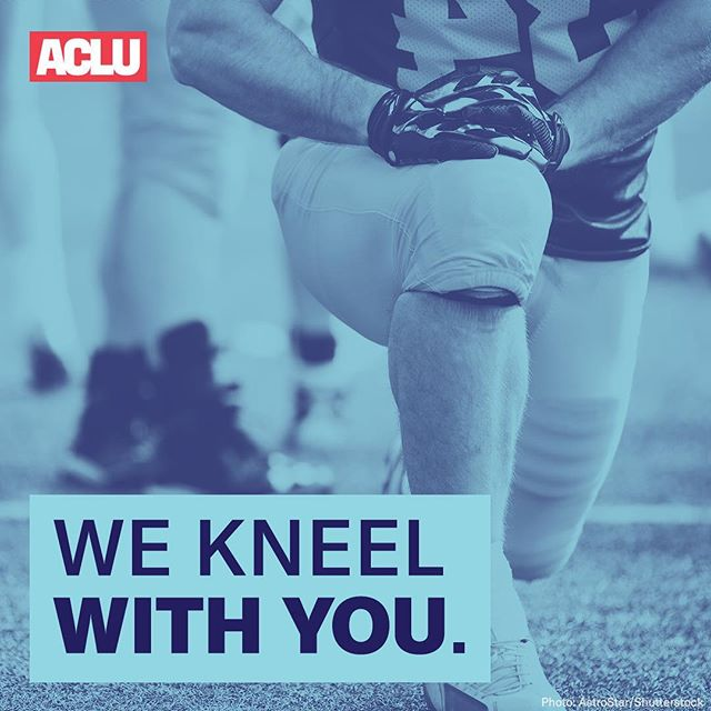 Democracy isn't a spectator sport.   To athletes kneeling today: We kneel with you. #TakeAKnee