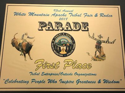 Great news 😁🗞👏🏼! We took home 1st Place 🥇 during the 93rd Annual White Mountain Apache Tribe Parade this past Saturday! How awesome!!! #whitemountainapachetribe #wmat