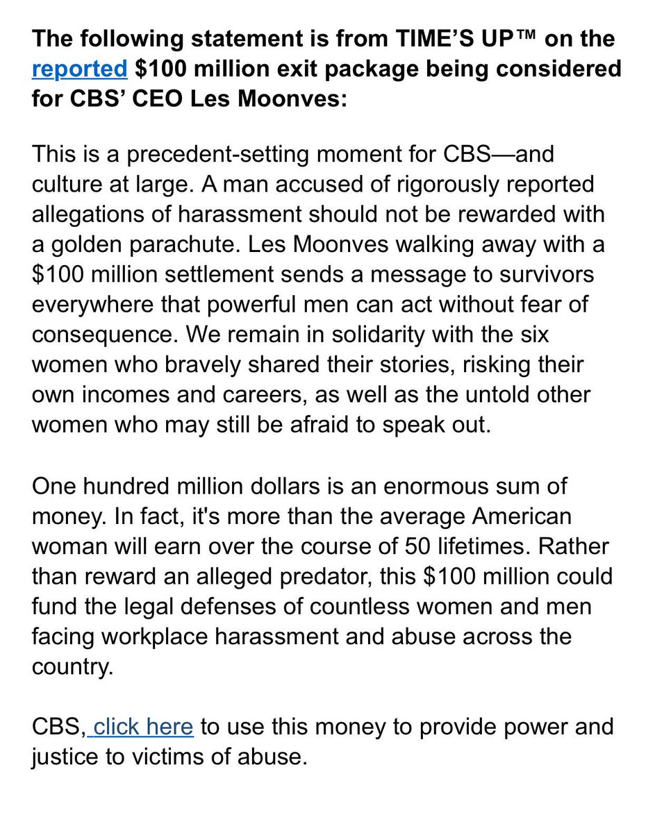 "Time's Up condemns the $100M payout that CBS is supposedly giving to Moonves, ""an alleged predator"""