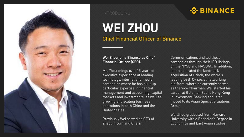 Image result for wei zhou binance