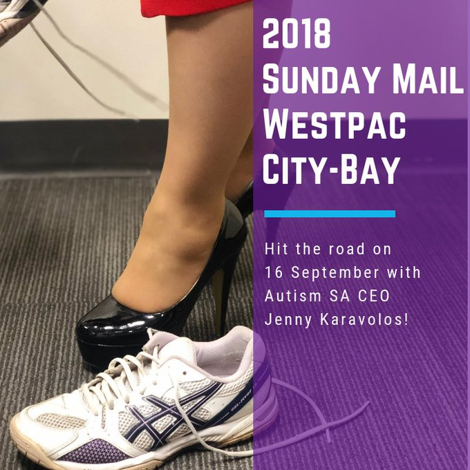 Join Autism SA CEO Jenny Karavolos as she swaps her heels for runners at the @citybaycity next Sunday – registrations are still open #citybay Photo