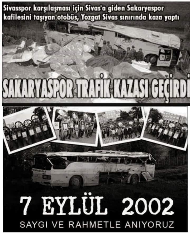 """Deplasman Tribünü در توییتر """"Siyahın en karasını yaşadık yeşilin içinde. 7 Eylül 2002 Tarihinde,Sivas deplasmanına giden Sakaryaspor kafilesini taşıyan otobüs ,yolun kaygan olması sebebiyle kaza yaptı.… https://t.co/bBjjs0JKwc"""""""