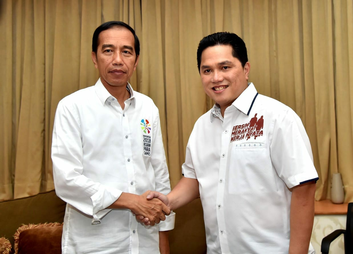 Erich Thohir berseragam Tim Pemenangan Capres Cawapres Jokowi - Maruf Amin. Foto: Twitter