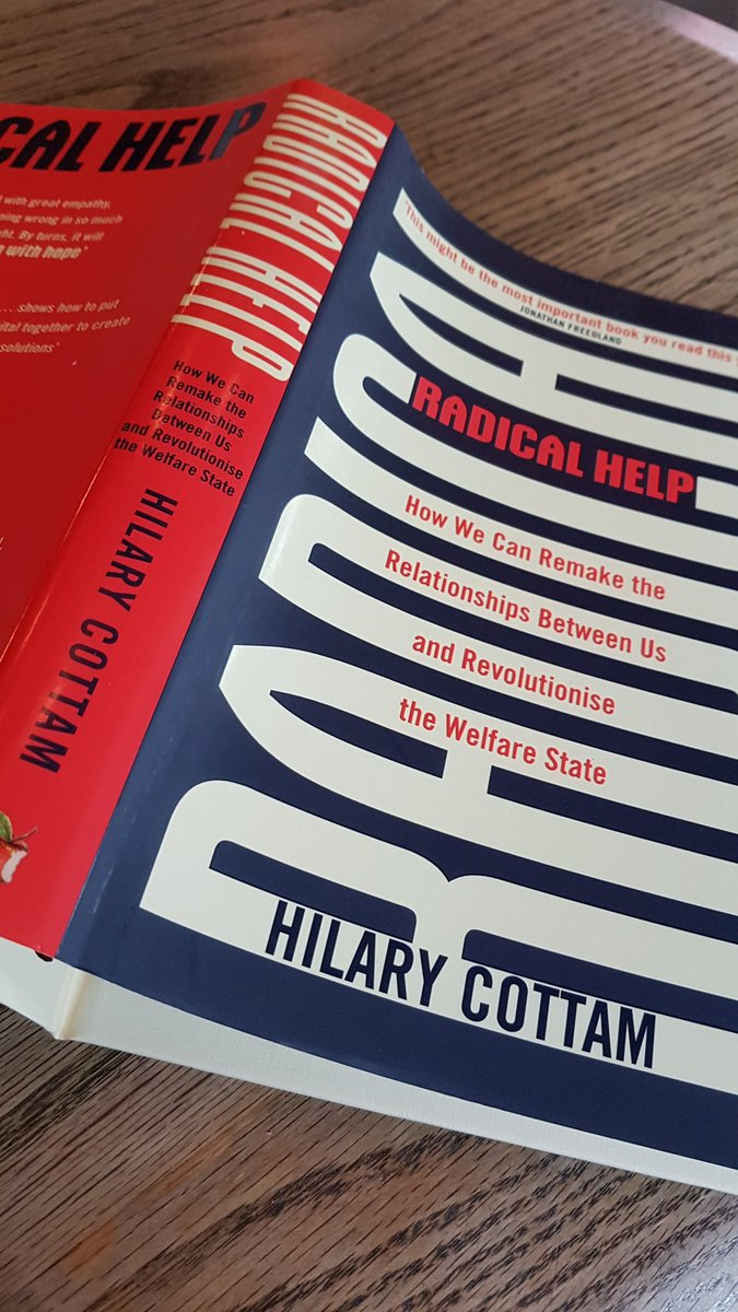 I like #thesmellofabook in the morning - and if the author tells you that she has worked w/ the humanitarian wing of a guerrilla army and the World Bank, then it has got to be an interesting book @HilaryCottam #welfarestate #socialchange