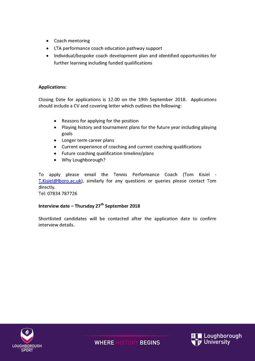 Loughborough Tennis On Twitter TASS PLAYER COACH ROLE Are