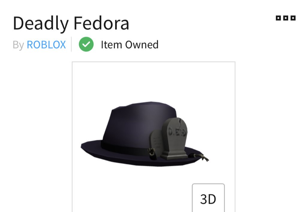 Roblox On Twitter This Black Fedora Was The First Of Its Kind On