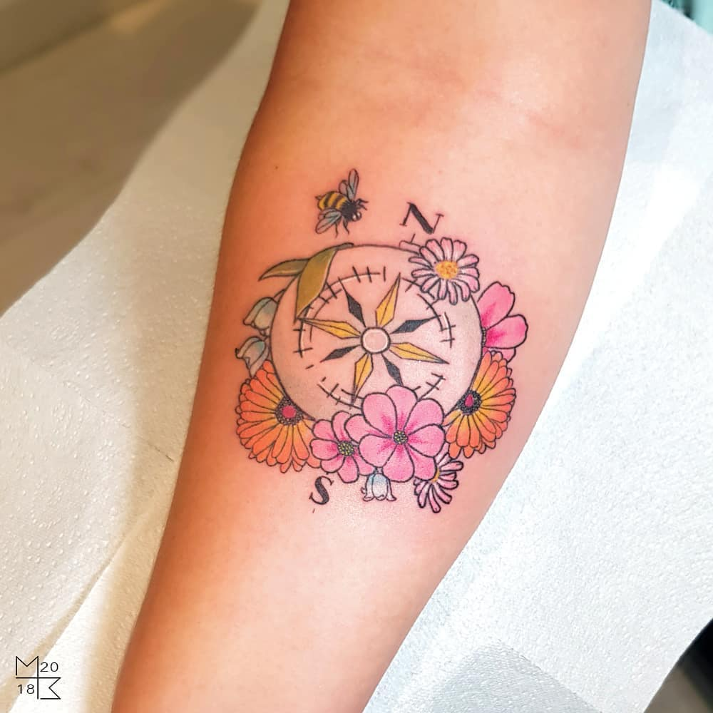Monumental Ink On Twitter Flower Compass Piece Done By Apprentice