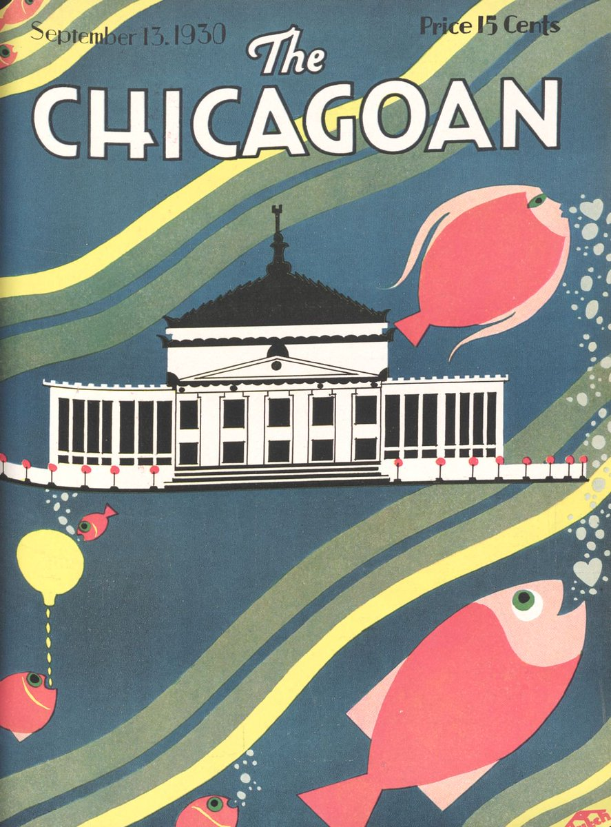 After the rainy week weve had in Chicago, this Fridays #Chicagoan cover seems apropos. Copyright The Quigley Publishing Company, a Division of QP Media, Inc. #chicagoan #Magazinecover #vintage #fish #artdeco #artdecochicago