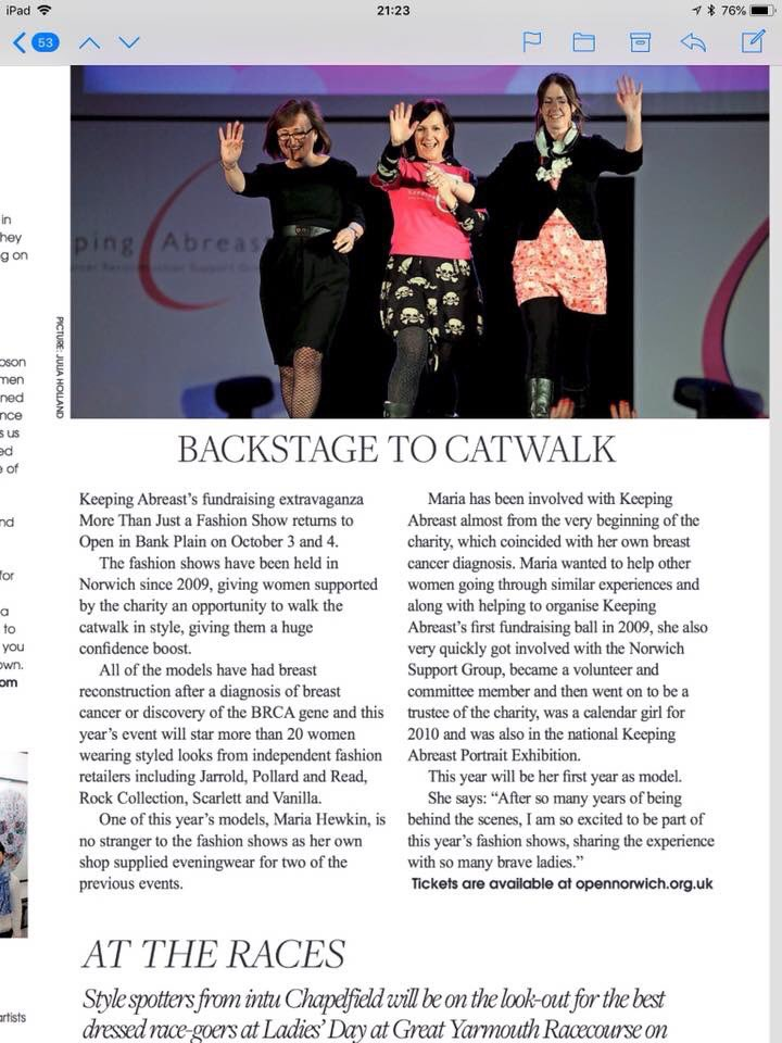 Here is our More Than Just Fashion Show features in @TheNorwichResident thanks to them and @JuliaHolland @Missdivadresses 3&4 October @OPENNorwich opennorwich.org.uk/whats-on/gigs-… Come along for an inspiring evening!