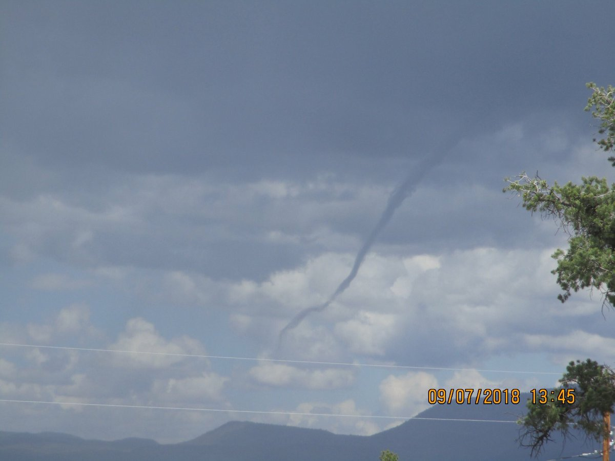 Funnel cloud spotted southwest of Datil, NM in rural Catron County...  📸: David McNutt #nmwx #Monsoon2018 @KOB4