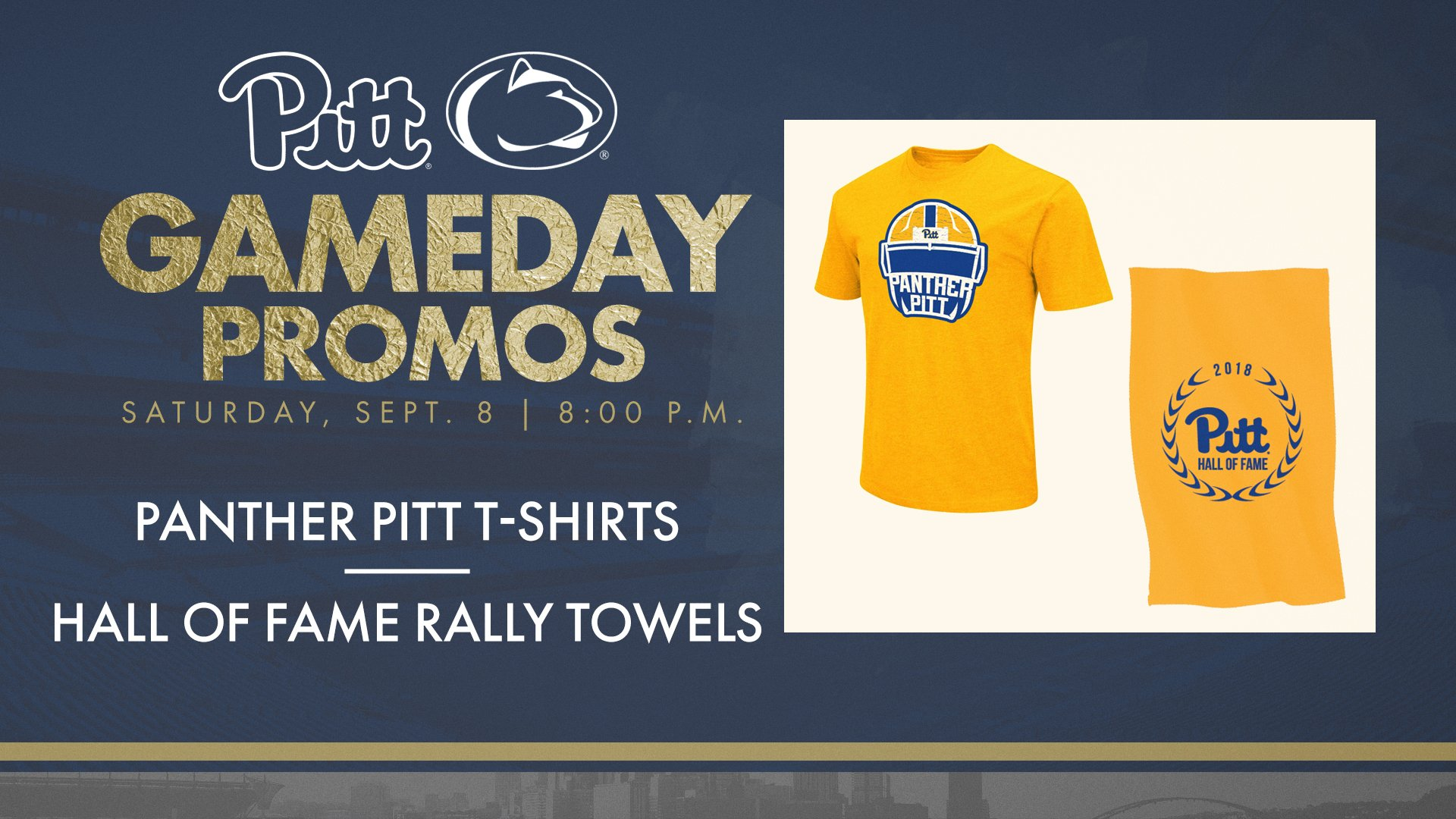 Pitt Athletics On Twitter Freebies For Tomorrow ThePantherPitt T Shirts PittTweet Students Hall Of Fame Rally Towels H2P LockTheGates