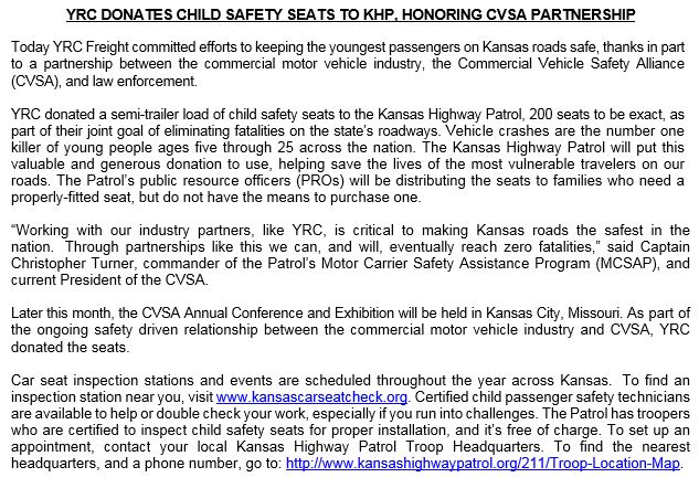 KS Highway Patrol On Twitter Awesome Donation Of 200 Car Seats By