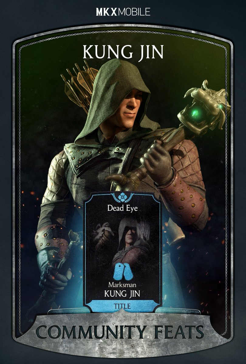 Prove you have what it takes to complete the next Community Feat by unlocking Marksman Kung Jins Dead Eye title! Post a screenshot of the menu with the unlocked feat by September 14th for a chance to win 500 Souls! #Sweepstakes & #MKXMobileCommunityFeats to qualify!