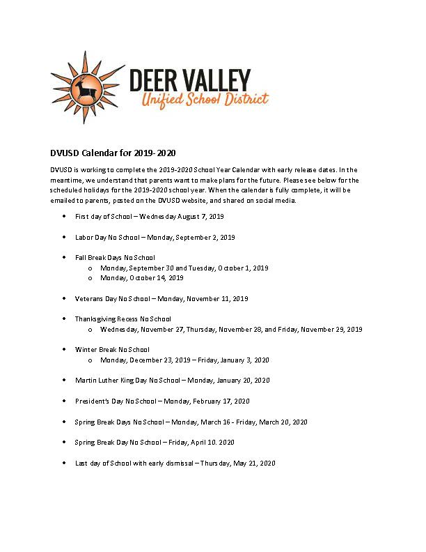 Dvusd Calendar 2020 Deer Valley Unified School District on Twitter: