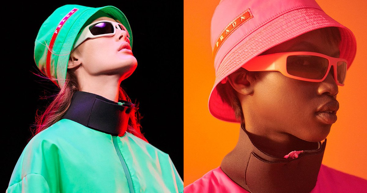 Prada Linea Rossa is back with  90s bucket hats and fluorescent sportswear.  https   hypb.st k0whp pic.twitter.com eo8wbjkdWJ 71e6230e565