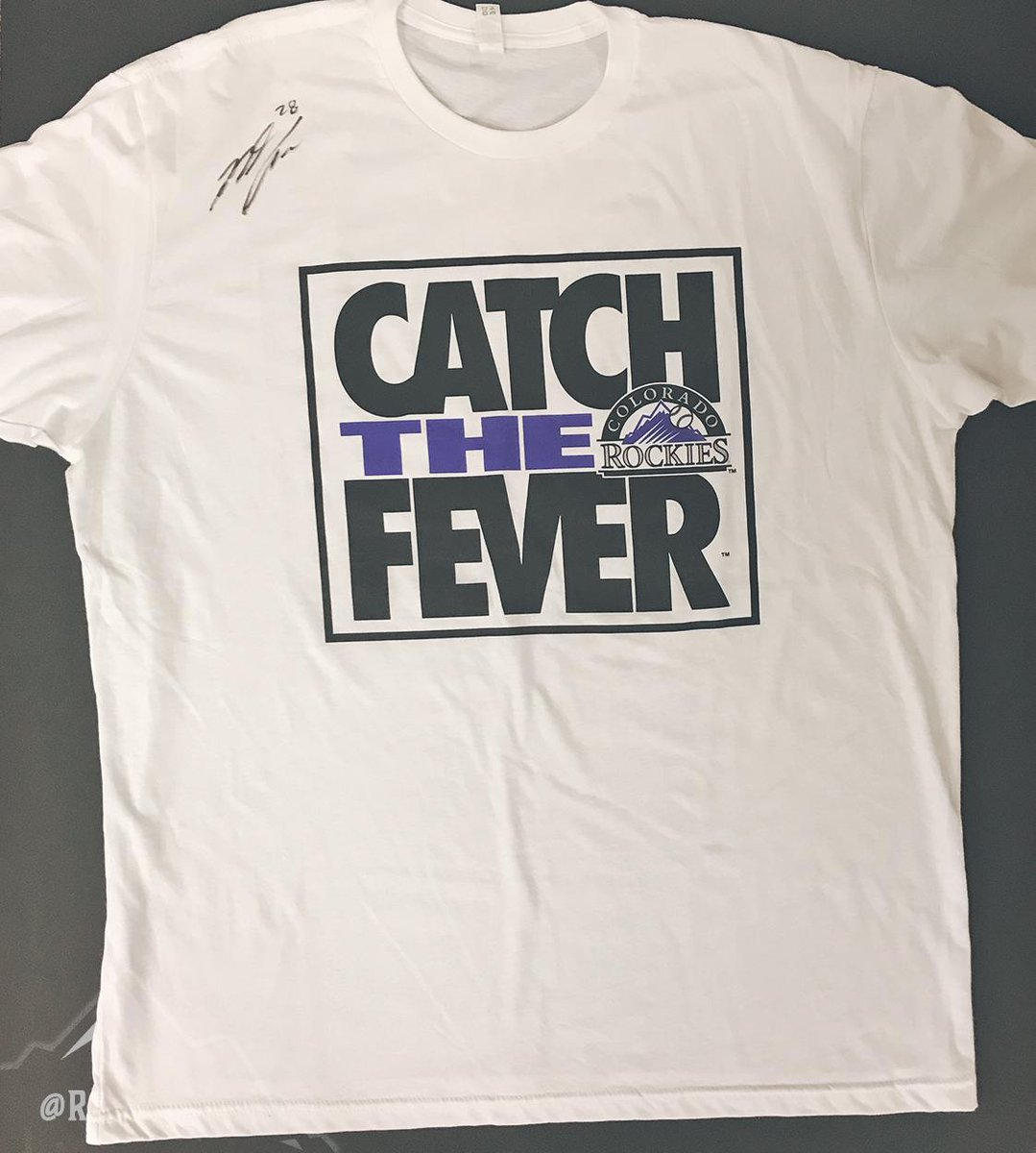 "Tonight is 90's Night at the ball yard!  The epic ""Catch the Fever"" tees are all sold out, but we smuggled one for you…and asked our friend Nolan Arenado to sign it.  RETWEET NOW for your chance to win this Nolan-signed T-shirt!"