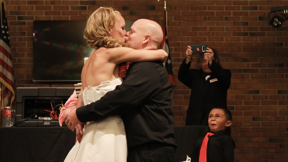 Ew! Child has #priceless reaction to couple's wedding kiss https://t.co/X07CCcj3HG