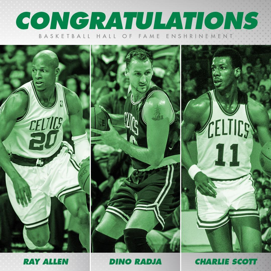 Congrats to Ray Allen, Dino Radja and Charlie Scott, who join the ranks of basketball's finest tonight 👏 #18HoopClass