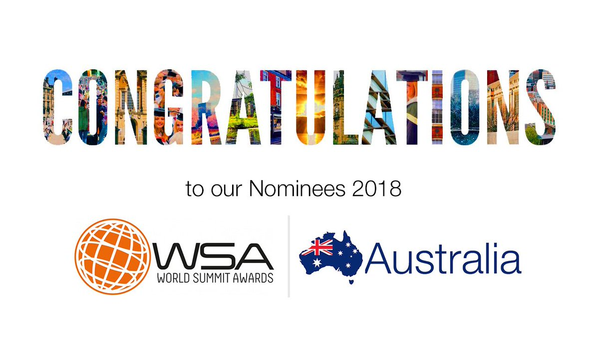 #Congratulations to our Australian 🇦🇺 Nominees for  @UN @WSAoffice 2018  https://goo.gl/dcuYE7  Special thanks to our Strategic Partner SCC for being with us on this exciting journey.  #WSA #WSAaustralia #Australia #SocialImpact #ChangeTheWorld #WSIS #SDG #Impact #Innovations