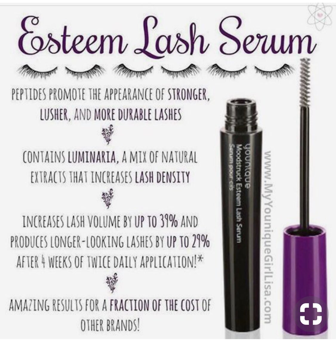 404d919bbbc Younique's Esteem Lash Serum is amazing! If you would LOVE lush lashes,  this is for you! #lashes #longlashes #lushlashes Visit my Younique Website  ...