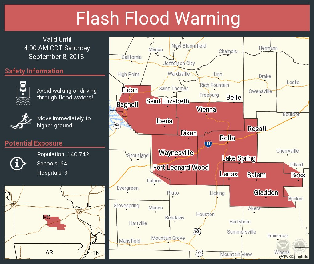 Nws Springfield On Twitter Flash Flood Warning Including Rolla Mo