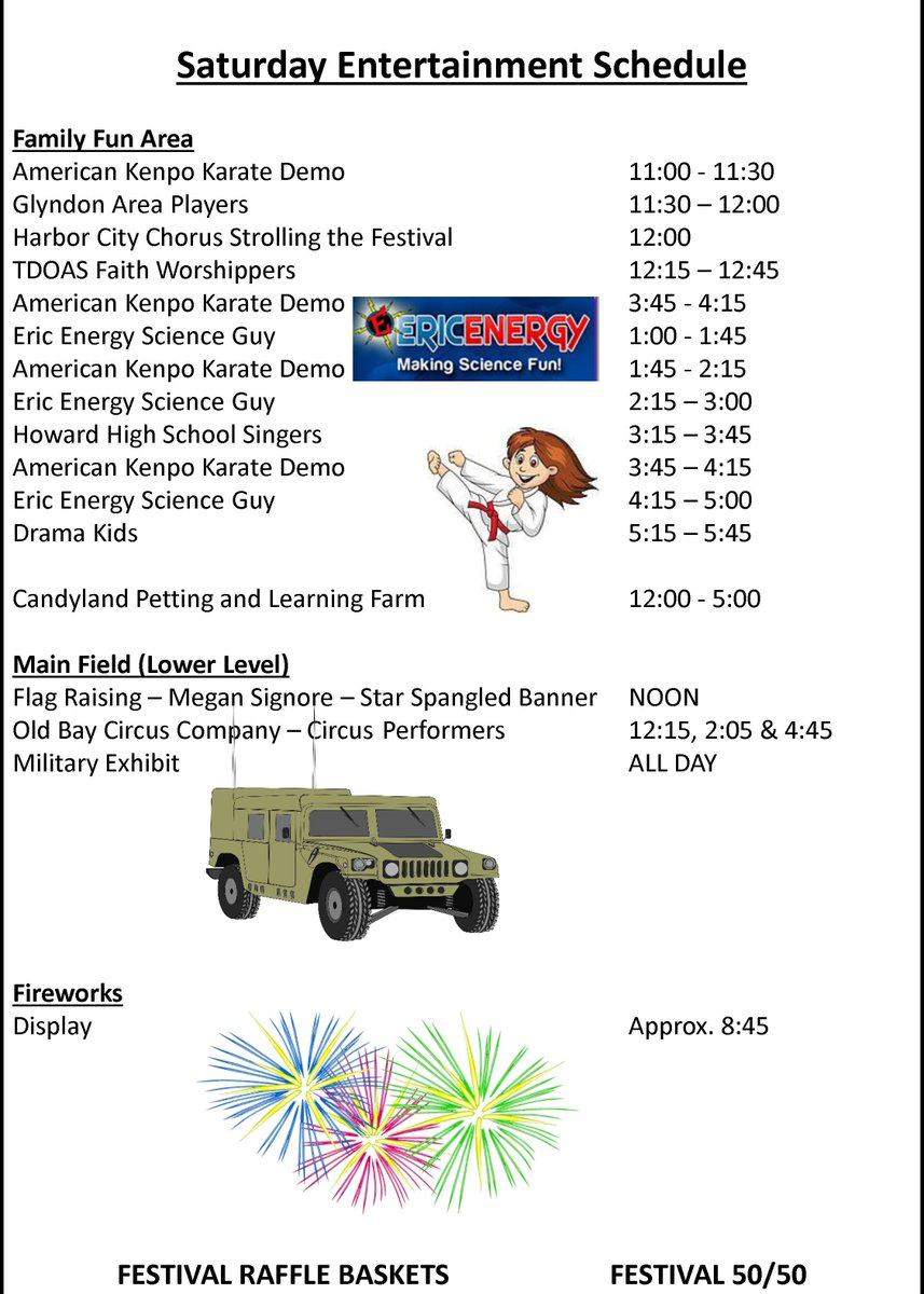 Here are live music and entertainment schedules for the Festival! There are also free program books onsite!