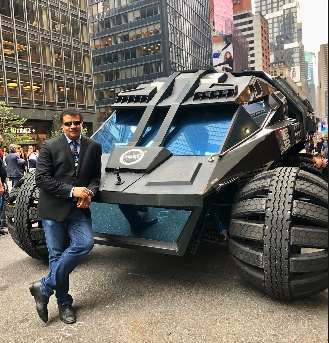 My other car is a badass @NASA prototype Mars Rover.   Yesterday, @StephenAtHome and I borrowed one from @NASAKennedyKennedy Space Center and took it for a spin on Broadway.