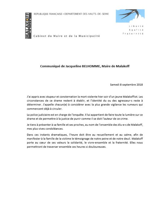 Communiqué de Jacqueline Belhomme, maire de Malakoff