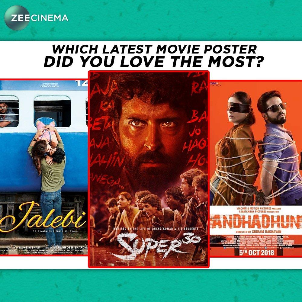 Zeecinema On Twitter Which Latest Movie Poster Is Your Favourite Ihrithik Ayushmannk Radhika Apte Jalebi Super30 Andhadhun