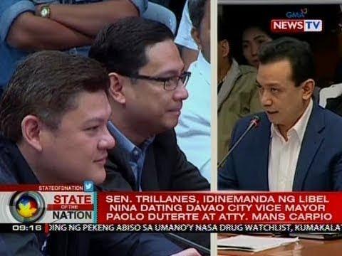 VIDEO: Sen. Trillanes, idinemanda ng libel nina Paolo Duterte at Atty. Mans Carpio http://bit.ly/2CzE7nJ