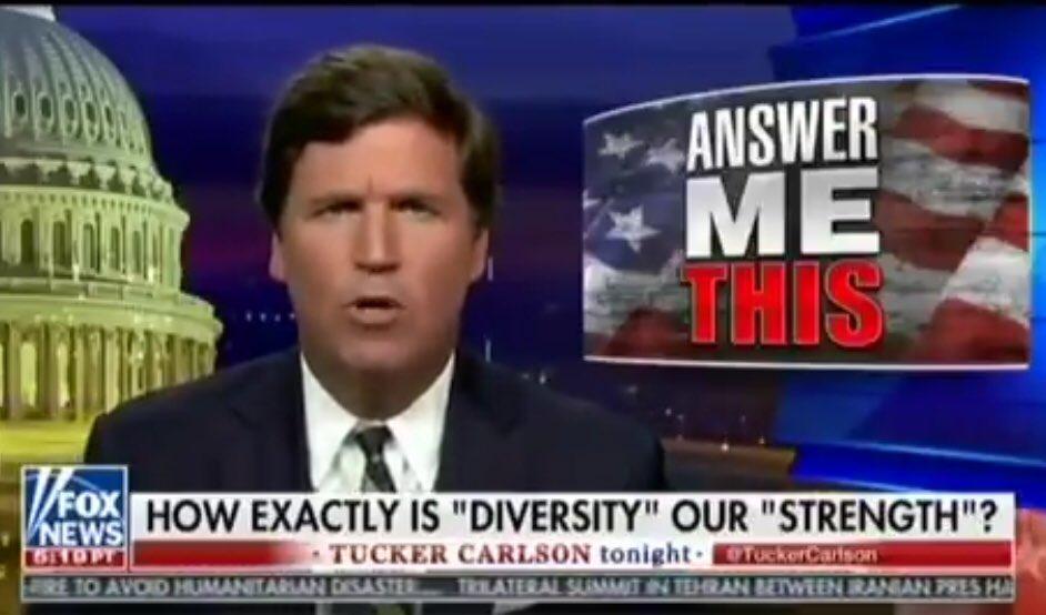 Tucker Carlson's anti-diversity rant for Fox News didn't go over well on Twitter