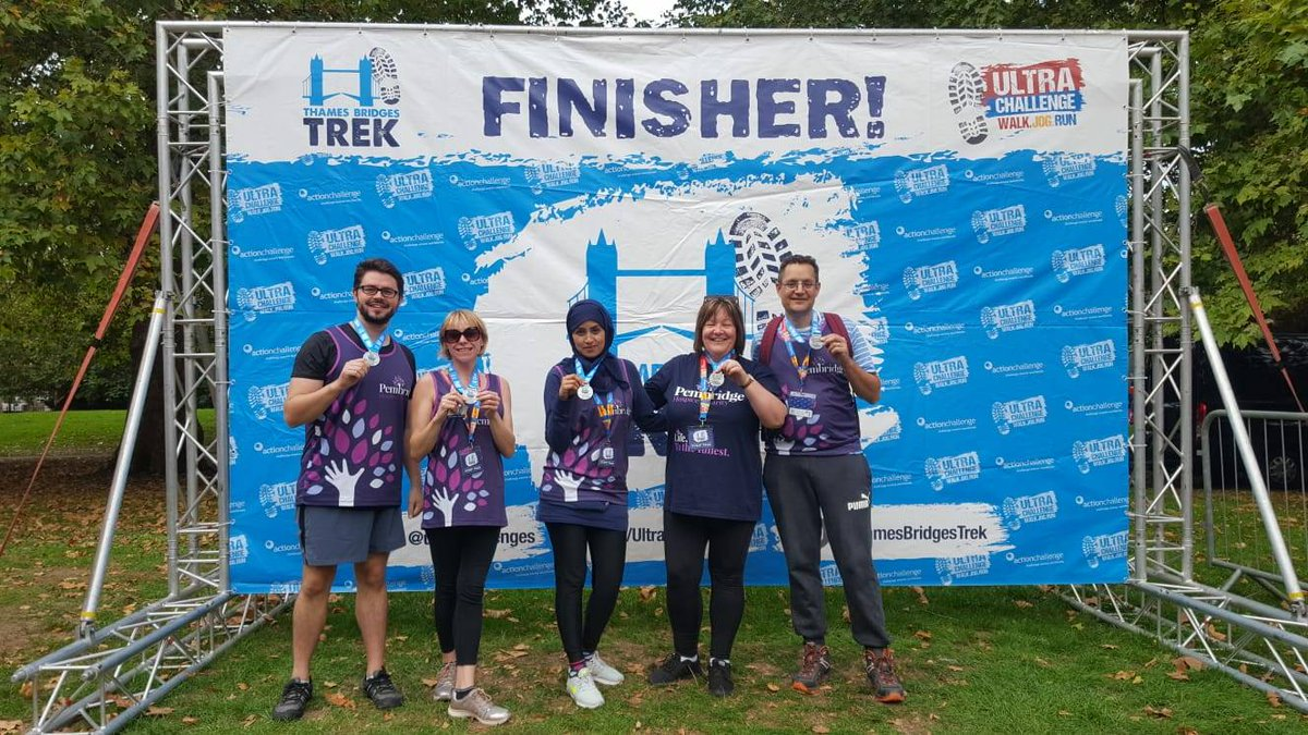 The Pembridge Team have finished the 25km Thames Bridges Trek! Thank you to everyone who has sponsored us and helped to raise more than £1,750 to support our patients. You can still sponsor the team at https://t.co/K66FSbaB5x
