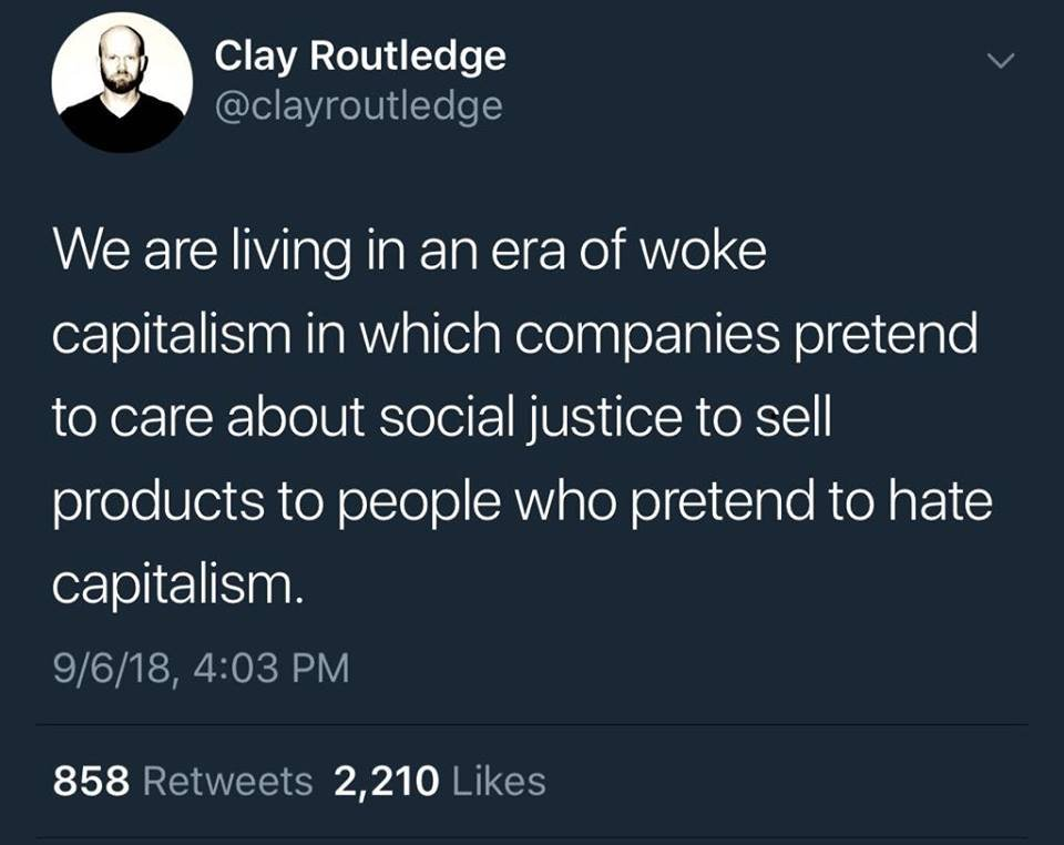 Image result for clay routledge capitalism twitter