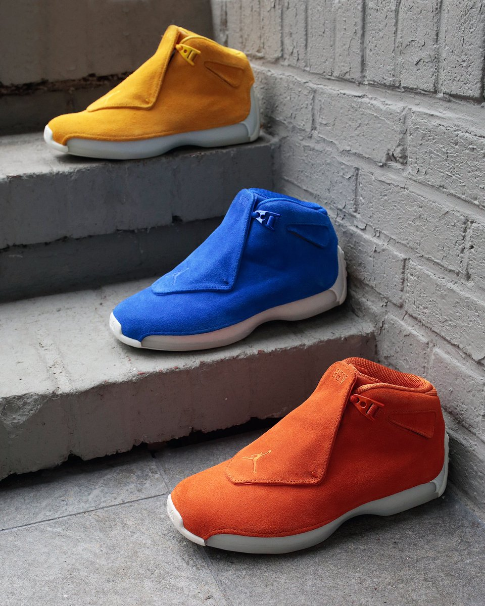 16c25fd7ac7 ... real extra butter ny on twitter air jordan retro 18 ochre racer blue and  campfire orange