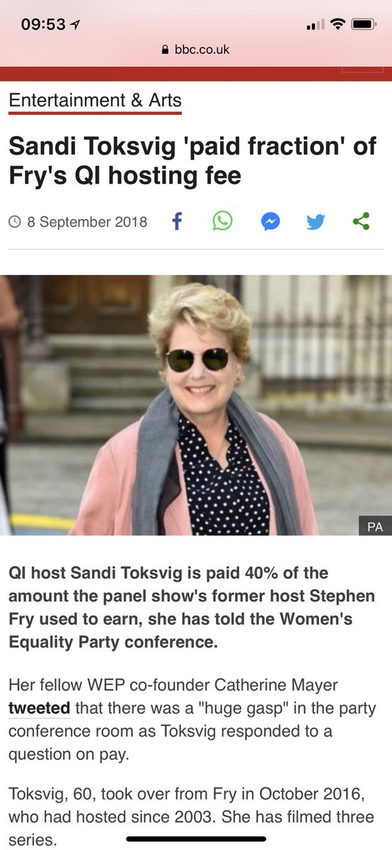 Story on @BBCNews about Toksvig being paid a fraction.  Ummm 40% is a percentage people, 2/5 is a fraction.... 😉