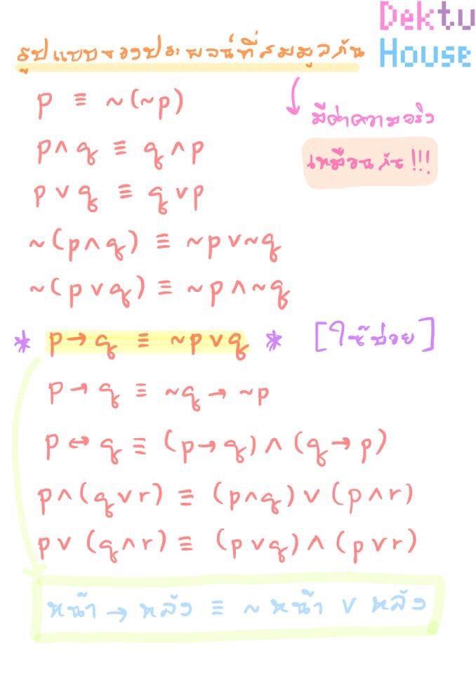 เรื่อง... รูปแบบของประพจน์ที่สมมูลกัน [ตรรกศาสตร์] คณิตศาสตร์ ม.4 เทอม1 (เล่ม1)  #การอ้างเหตุผล #ตรรกศาสตร์ #นิเสธ #สมมูล #สัจนิรันดร์ #สรุปคณิต #สรุปเลข #ติวเลข #ติวคณิต #สอนคณิต #สอนเลข #สอนโจทย์เลข #คณิตศาสตร์ #dektuhouse https://t.co/dmwnPj2KvB