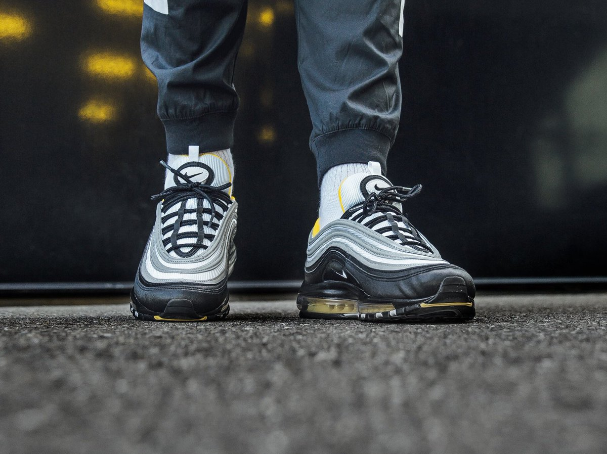 """e15b47fd6260 You can now pick up the Nike Air Max 97  Steelers  under retail! Save 10%  with code """"SEP18"""" here    http   tidd.ly e9525e22 UK6-12 ..."""