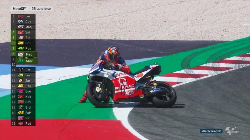 Jack Miller terjatuh saat balapan MotoGP San Marino, Italia, Minggu (9/9/2018).