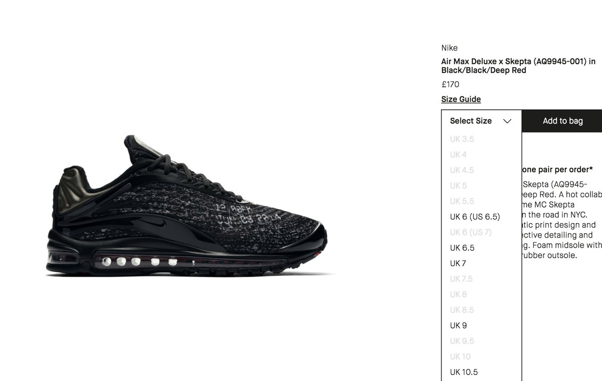sports shoes f424e 19f45 Few sizes restocked Skepta x Nike Air Max Deluxe SK     http   tinyurl.com ydgun2vo pic.twitter.com pl6KlvSO99