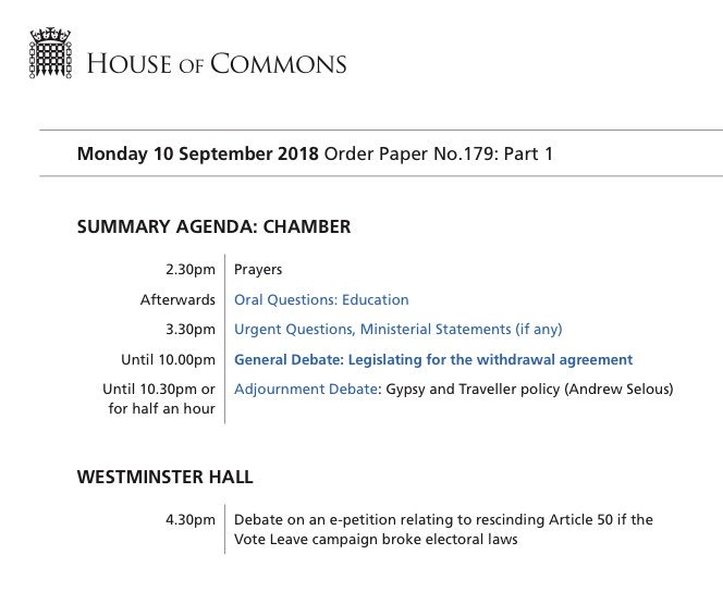 Parly On Twitter Tomorrows Main Commons Business Is A General