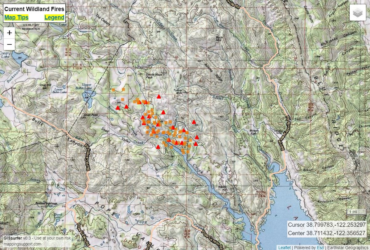 Lake Berryessa Fire Map.Ai6yr On Twitter Map Of Snellfire Via Satellite Near Lake