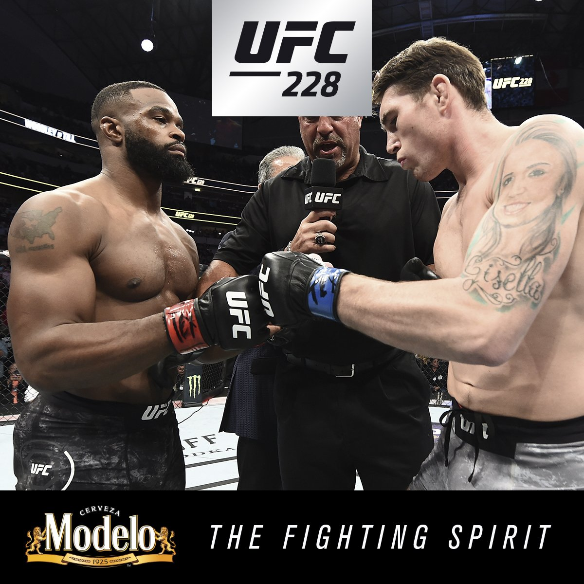 Adding another chapter to the legacy. @TWooodley showed his #FightingSpirit as he defended his belt AGAIN. @ModeloUSA #UFC228