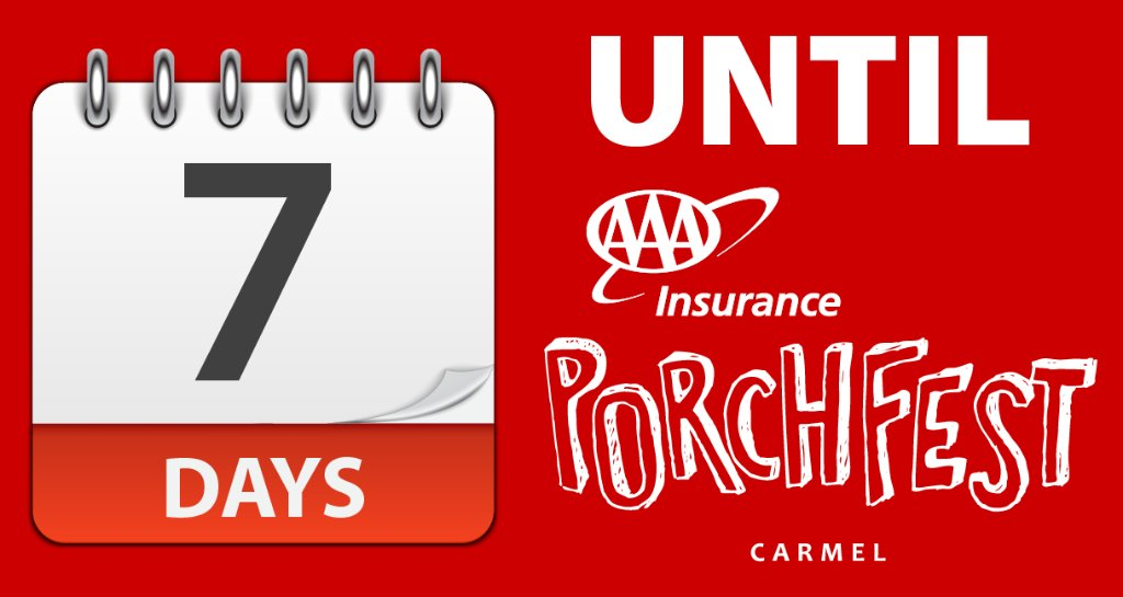 There are only 7 days left until the 2018 AAA Insurance @CarmelPorchFest on September 16. More details at: http://bit.ly/2L9yWtS pic.twitter.com/8zS0YQdmbe