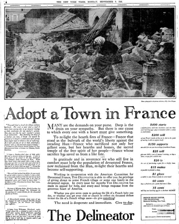 Sep 9, 1918 - New York Times: Adopt a town in war-torn France #100yearsago